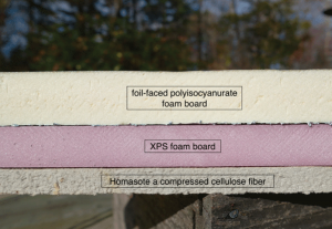 Figure 5 Foil-faced, polyisocyanurate offers both dense insulation and reflective qualities. Pink XPS board provides insulation, and Homasote a compressed cellulose fiber product, offers lower insulation but good water vapor retention.